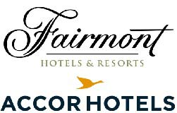 Fairmont Hotels and Resorts and Accor Hotels combined logo over a white white background