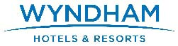 Wyndham Hotels and Resorts logo in blue over a white background