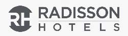 Radisson Hotels and Resorts grey logo over white background