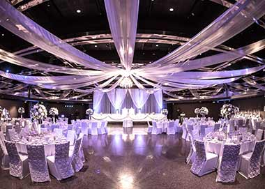 White ceiling drapes
