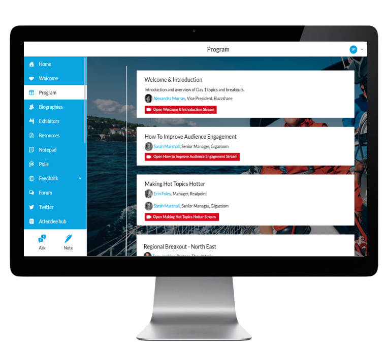 The Chime Live engagement platform with on-demand videos embedded in the agenda