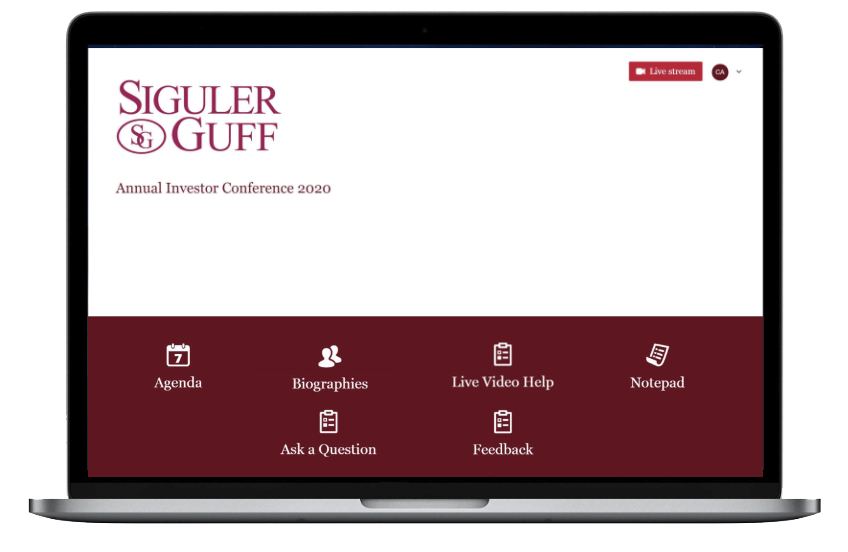 Sigular Guff Investor Conference Chime Live home page design on laptop