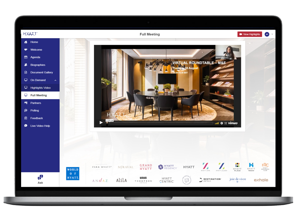 Hyatt Virtual Roundtable Chime Live design