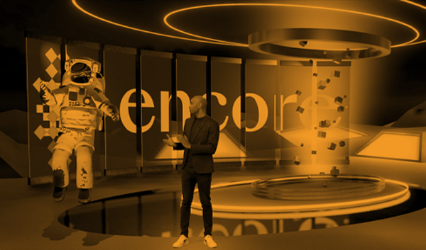 Male presenter interacting with Augmented Reality on a branded event stage