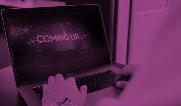 'Coming up...' message on a laptop screen