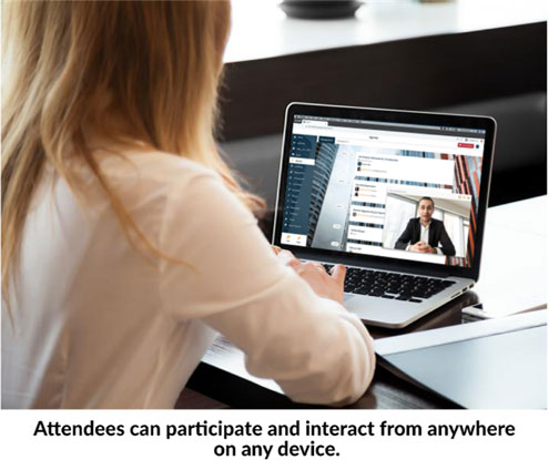 Attendee joined a virtual event from her laptop at home