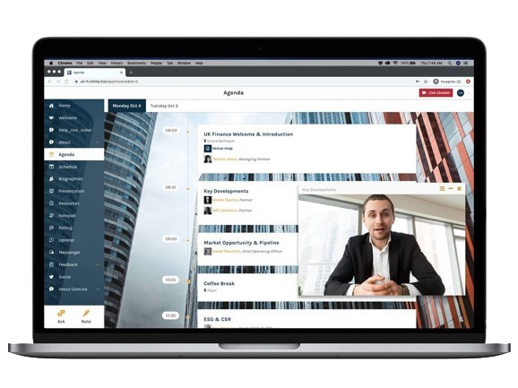 Agenda and video feed screen open in Chime Live