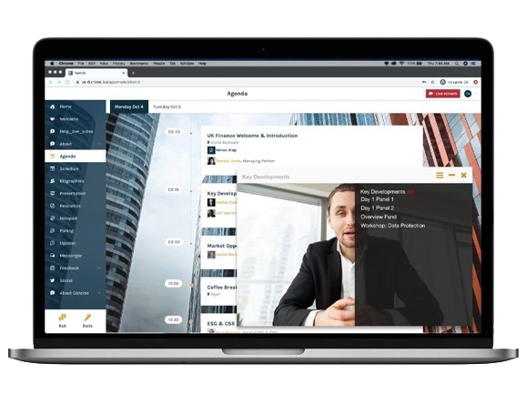 Personal Agenda and video feed open in separate windows in Chime Live