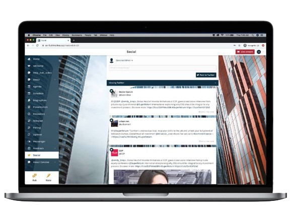 Social, Messenger and Forum tools within Chime Live