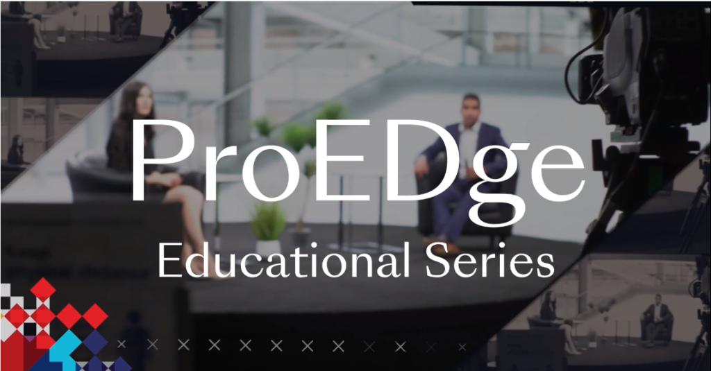 Image promoting Encore's Professional EDge webinar series showing presenters in a broadcast studio